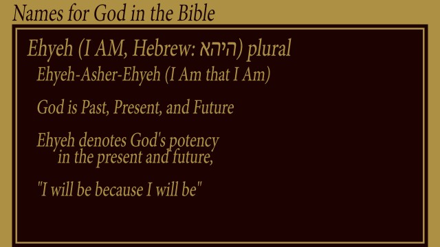 "Ehyeh (I AM, Hebrew: אהיה) plural  Ehyeh-Asher-Ehyeh (I Am that I Am)  God is Past, Present, and Future  Ehyeh denotes God's potency        in the present and future,   ""I will be because I will be"" mythoguhts thoughtsofgod thoughts of God"