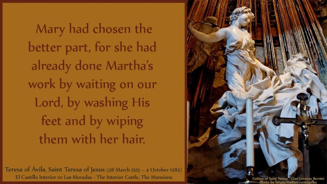Mary had chosen the better part, for she had already done Martha's work by waiting on our Lord, by washing His feet and by wiping them with her hair. David Reese, mythoughts, thouhgtsofgod, thoughts of God