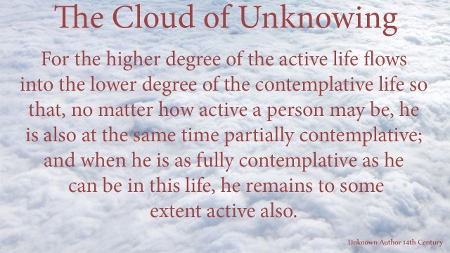 For the higher degree of the active life flows into the lower degree of the contemplative life so that, no matter how active a person may be, he is also at the same time partially contemplative; and when he is as fully contemplative as he can be in this life, he remains to some extent active also. mythoughts, thoughtsofgod, thoughts of God, David Reese