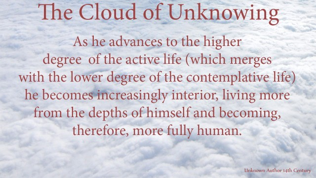 As he advances to the higher degree of the active life (which merges with the lower degree of the contemplative life) he becomes increasingly interior, living more from the depths of himself and becoming, therefore, more fully human.mythoughts, thopughtsofgod, thoughts of God, David Reese