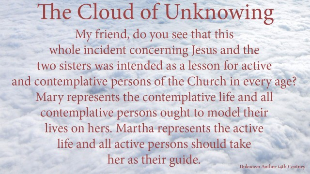 My friend, do you see that this whole incident concerning Jesus and the two sisters was intended as a lesson for active and contemplative persons of the Church in every age? Mary represents the contemplative life and all contemplative persons ought to model their lives on hers. Martha represents the active life and all active persons should take her as their guide. mythoughts, thoughtsofgod, thoughts of God, David Reese