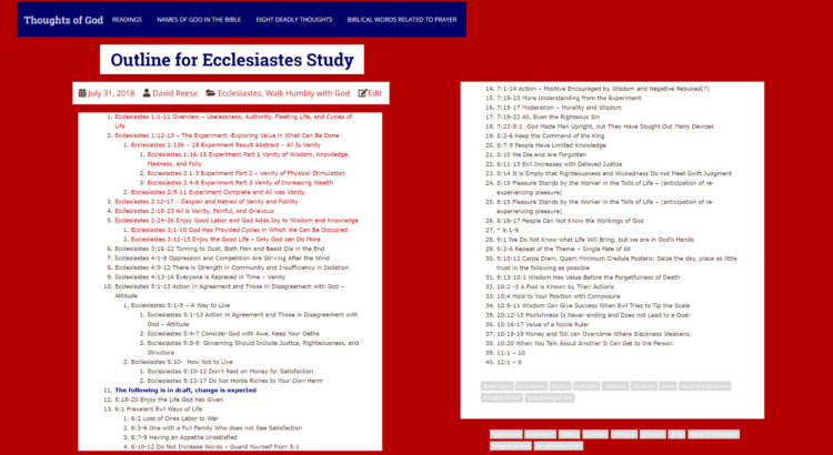 My Ecclesiastes (Qoheleth - Qoheleth) outline structure is included as reference material for my study of Ecclesiastes. thoughtsofgod.com, Thoughts of God, David Reese
