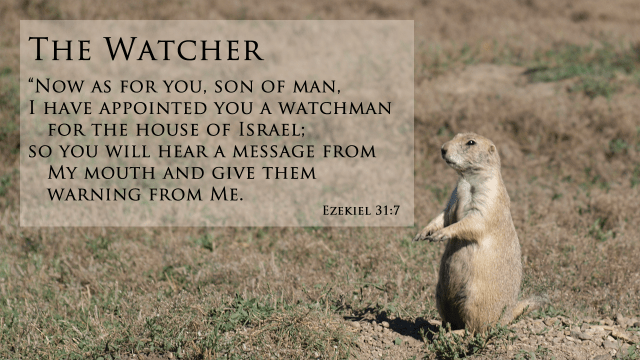 "The Watcher, ""Now as for you, son of man, I have appointed you a watchman for the house of Israel; so you will hear a message from My mouth and give them warning from Me, mythoughts, thoughtsofgod"
