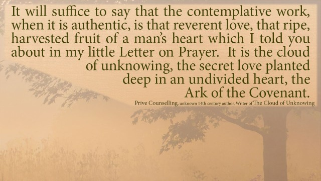 The Book of Privy Counseling - It will suffice to say that the contemplative work, when it is authentic, is that reverent love, that ripe, harvested fruit of a man's heart which I told you about in my little Letter on Prayer. It is the cloud of unknowing, the secret love planted deep in an undivided heart, the Ark of the Covenant.mythoughts, thoughtsofgod, thoughts of God, David Reese