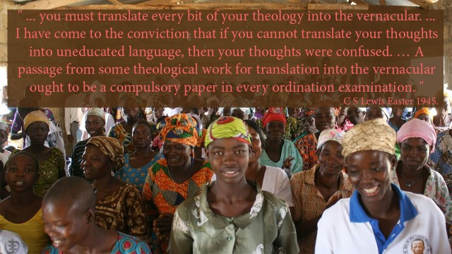 """ ... you must translate every bit of your theology into the vernacular. ... I have come to the conviction that if you cannot translate your thoughts into uneducated language, then your thoughts were confused. … A passage from some theological work for translation into the vernacular ought to be a compulsory paper in every ordination examination. "" 'Paper read at the ""Carmarthen Conference for Youth Leaders and Junior Clergy"", Church in Wales at Carmarthen, Easter 1945. mythoughts, thoughts of God, thoughtsofgod, David Reese"
